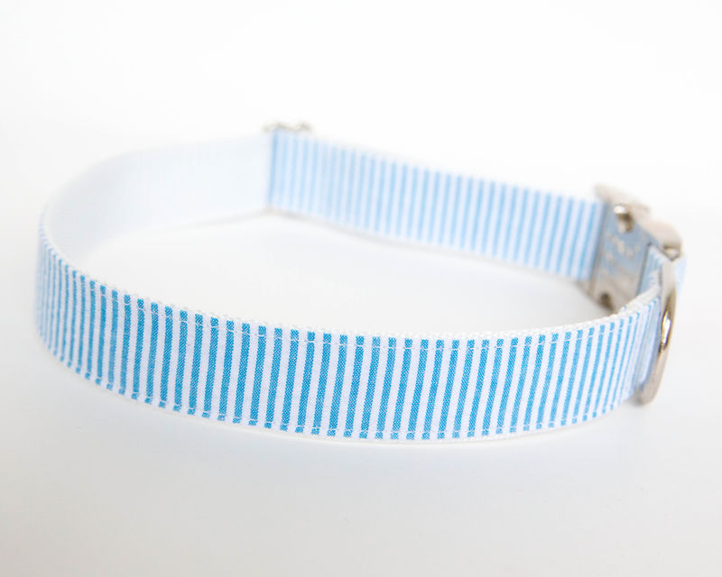 Seersucker Dog Collar - Turquoise - product images  of