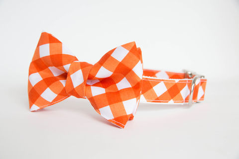 Dog,Bowtie,Collar,-,Orange,Gingham,dog collar, dog bow tie, dog bowtie, bow tie dog collar, bowtie dog collar, gingham dog collar, gingham, orange, wedding dog collar, clemson dog collar, clemson university, auburn dog collar, auburn university