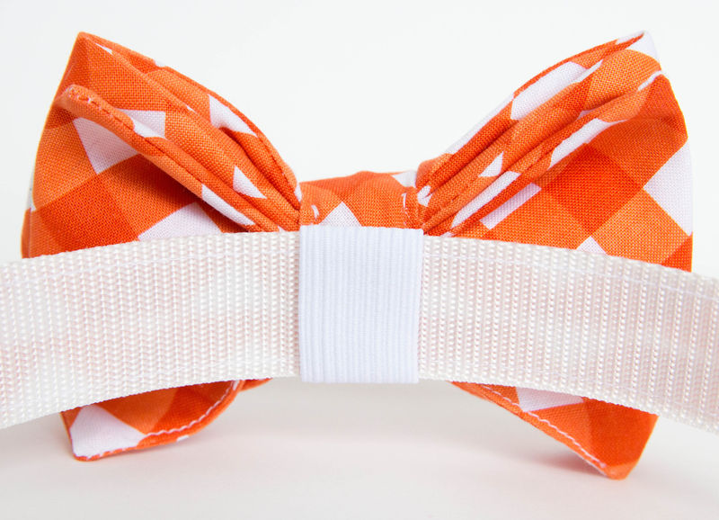 Dog Bowtie Collar - Orange Gingham - product images  of