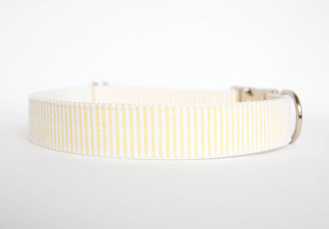 Seersucker,Dog,Collar,-,Yellow,seersucker dog collar, dog collar, southern dog collar, yellow, seersucker