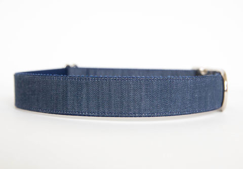 Dark,Chambray,Dog,Collar,chambray dog collar, dog collar, southern dog collar, denim dog collar, nickel hardware, silver hardware