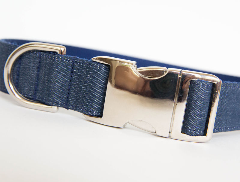 Dark Chambray Dog Collar - product images  of