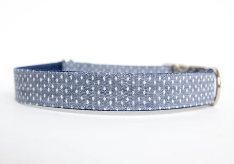 Swiss,Dot,Chambray,Dog,Collar,chambray dog collar, dog collar, southern dog collar, denim dog collar, nickel hardware, silver hardware, swiss dot