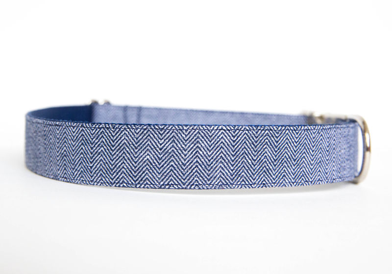 Navy Herringbone Chambray Dog Collar - product images  of
