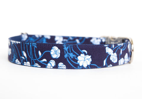 Indigo,Floral,Dog,Collar,liberty of london dog collar, floral dog collar, navy, flower dog collar, dog collar, southern dog collar, nickel hardware, silver hardware