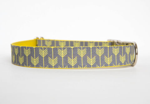Camp,Dog,Collar,-,Grey/Yellow,dog collar, arrow, arrows, camp dog collar, military dog collar, nickel hardware, grey, yellow