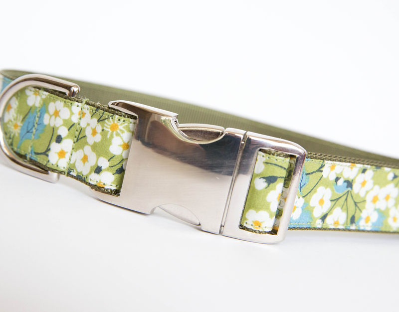 Liberty of London Dog Collar - Green Daisies - product images  of