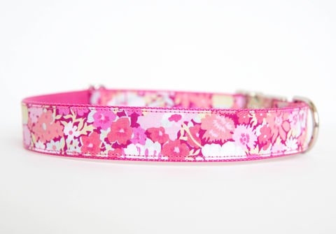 Liberty,of,London,Dog,Collar,-,Pink,Floral,liberty of london dog collar, dog collar, southern dog collar, floral dog collar, pink, red