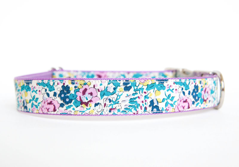 Liberty of London Dog Collar - Turquoise & Lavender Floral - product images  of