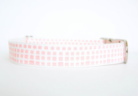 Happy,Racquet,Dog,Collar,in,Ballet,Pink,plaid dog collar, dog collar, southern dog collar, check dog collar, pink