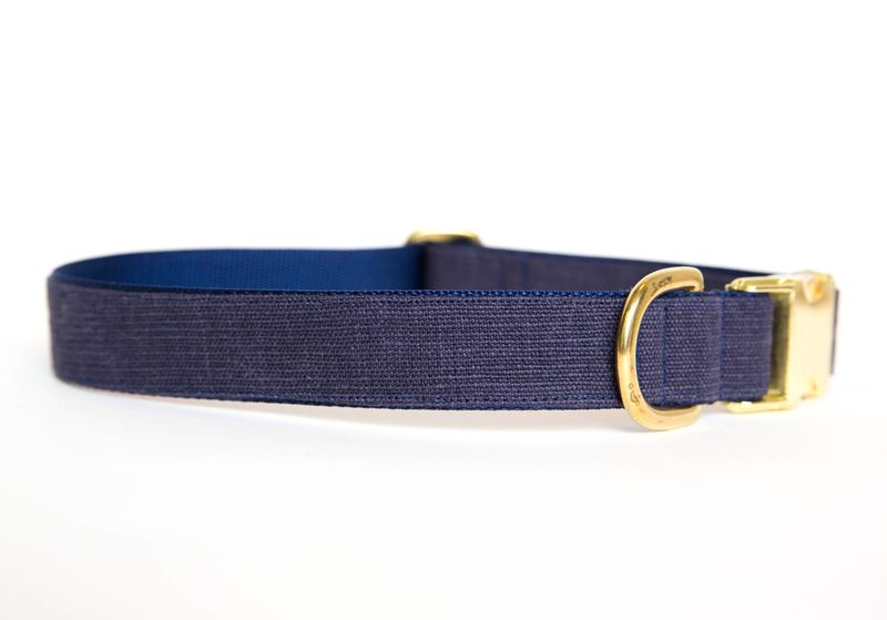 Washed Linen Dog Collar - Navy - product images  of
