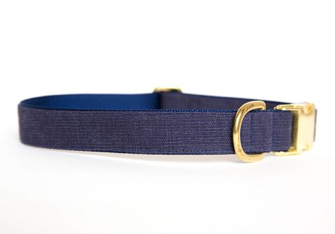 Washed,Linen,Dog,Collar,-,Navy,linen dog collar, dog collar, wedding dog collar, gold hardware, brass hardware, navy dog collar
