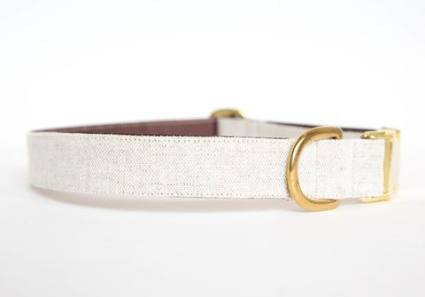 Washed,Linen,Dog,Collar,-,Natural,linen dog collar, dog collar, wedding dog collar, gold hardware, brass hardware, natural dog collar