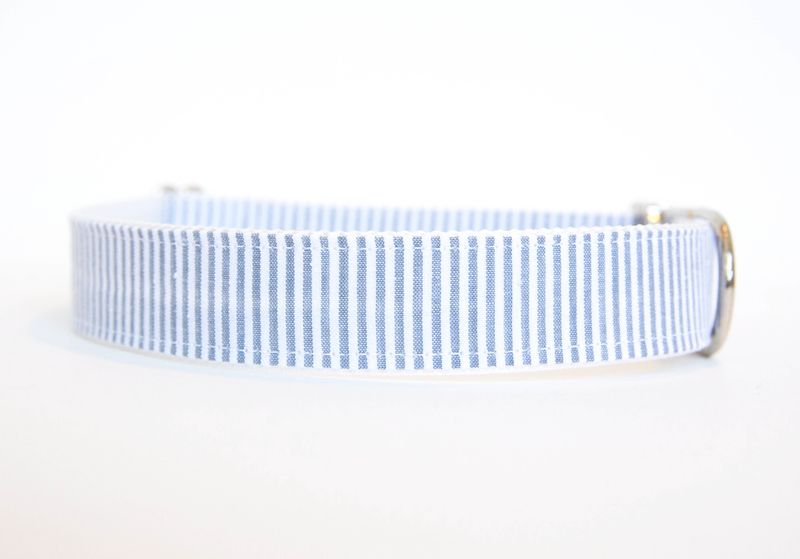 Seersucker Dog Collar - Grey - product images  of