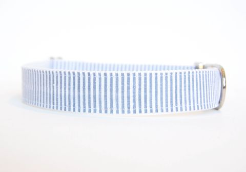 Seersucker,Dog,Collar,-,Grey,seersucker dog collar, dog collar, southern dog collar, grey, gray