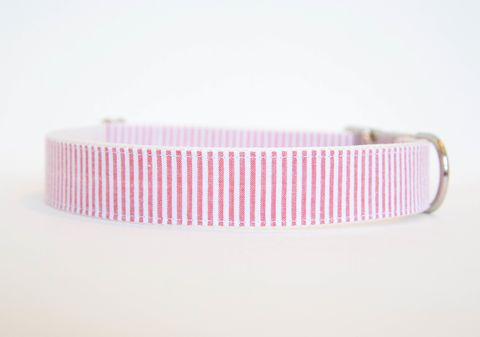 Seersucker,Dog,Collar,-,Coral,seersucker dog collar, dog collar, southern dog collar, striped dog collar, coral