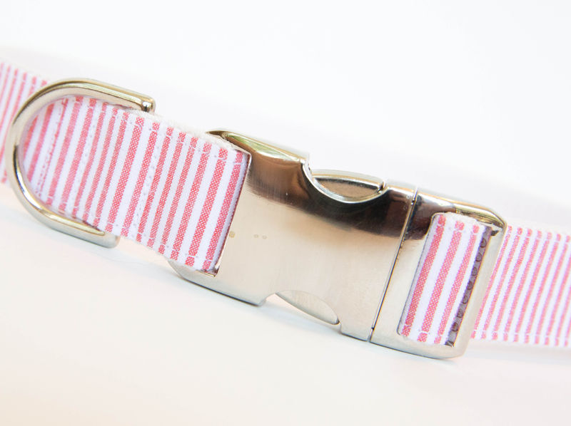 Seersucker Dog Collar - Coral - product images  of