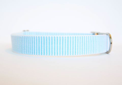 Seersucker,Dog,Collar,-,Sky,Blue,seersucker dog collar, dog collar, southern dog collar, striped dog collar, blue seersucker, sky blue