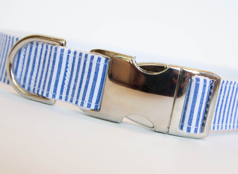 Seersucker Dog Collar - Navy - product images  of
