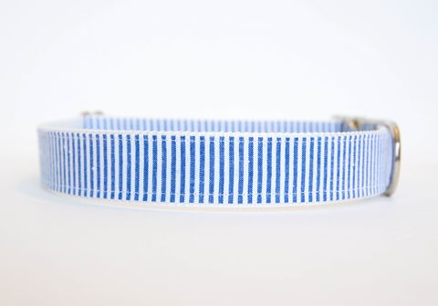 Seersucker,Dog,Collar,-,Navy,seersucker dog collar, dog collar, southern dog collar, striped dog collar, navy seersucker, navy