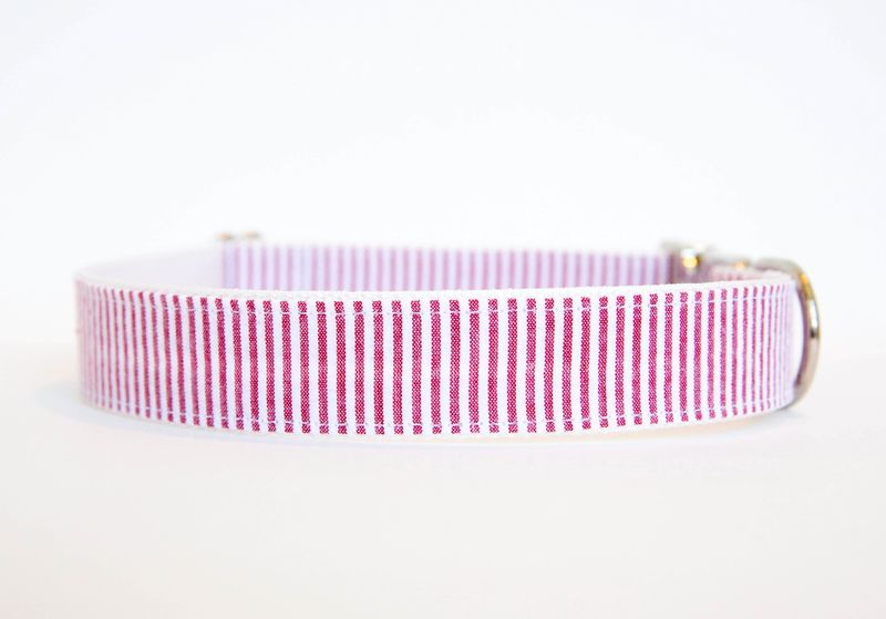 Seersucker Dog Collar - Garnet - product images  of
