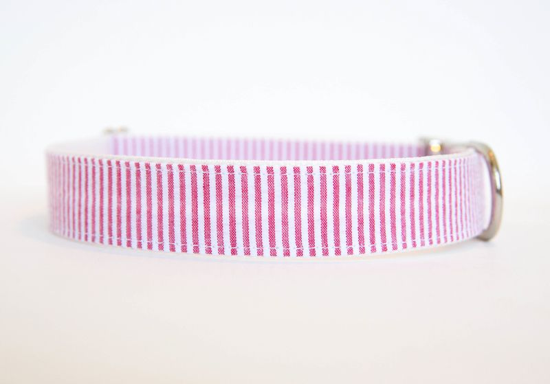 Seersucker Dog Collar - Red - product images  of