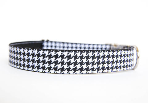 Black,&,White,Houndstooth,Dog,Collar,houndstooth dog collar, black and white dog collar, alabama dog collar, university of alabama dog collar