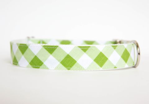 Gingham,Dog,Collar,-,Green,gingham dog collar, plaid dog collar, dog collar, southern dog collar, check dog collar, green