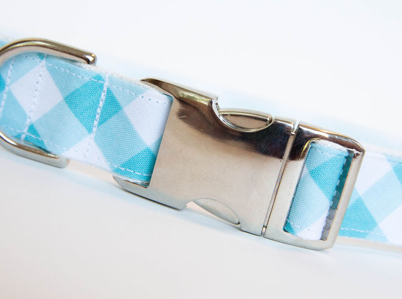 Gingham Dog Collar - Turquoise - product images  of