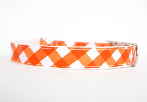 Gingham,Dog,Collar,-,Orange,gingham dog collar, plaid dog collar, dog collar, southern dog collar, check dog collar, orange
