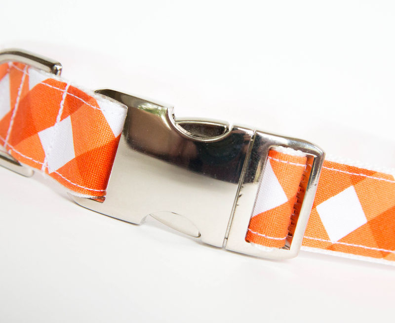 Gingham Dog Collar - Orange - product images  of