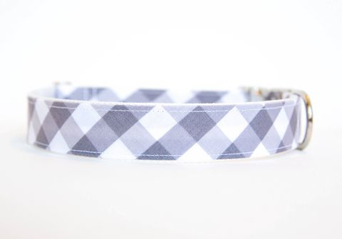 Gingham,Dog,Collar,-,Grey,gingham dog collar, plaid dog collar, dog collar, southern dog collar, check dog collar, grey, gray