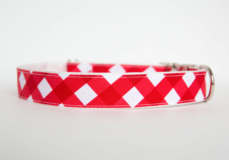 Gingham Dog Collar - Red - product images  of