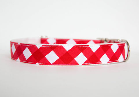Gingham,Dog,Collar,-,Red,gingham dog collar, plaid dog collar, dog collar, southern dog collar, check dog collar, red