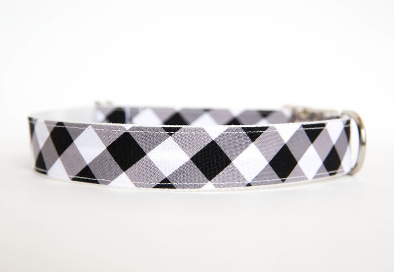 Gingham Dog Collar - Black - product images  of