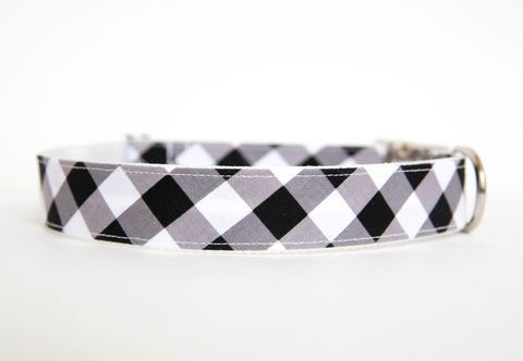 Gingham,Dog,Collar,-,Black,gingham dog collar, plaid dog collar, dog collar, southern dog collar, check dog collar, black