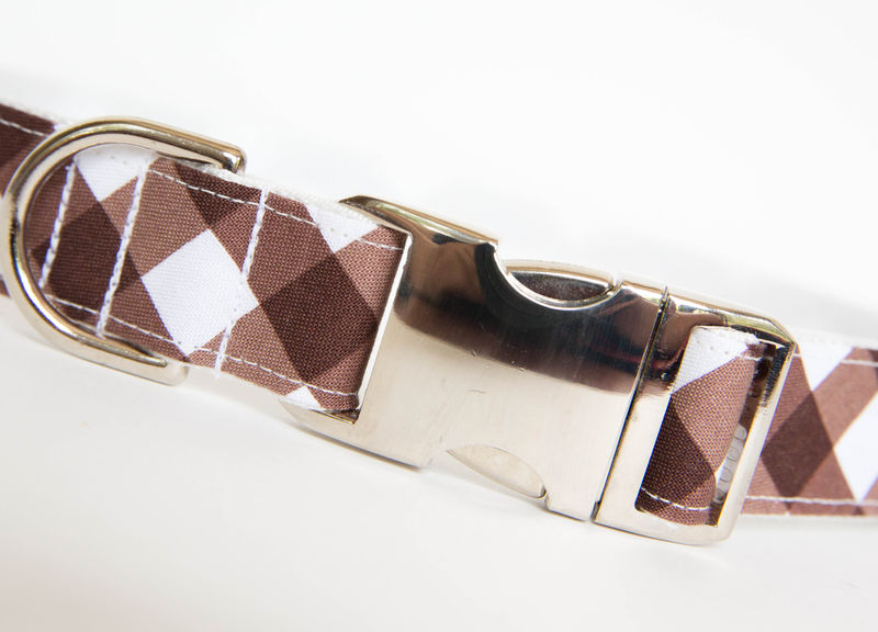 Gingham Dog Collar - Brown - product images  of