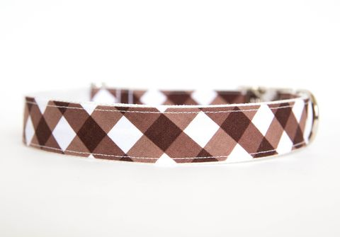 Gingham,Dog,Collar,-,Brown,gingham dog collar, plaid dog collar, dog collar, southern dog collar, check dog collar, brown
