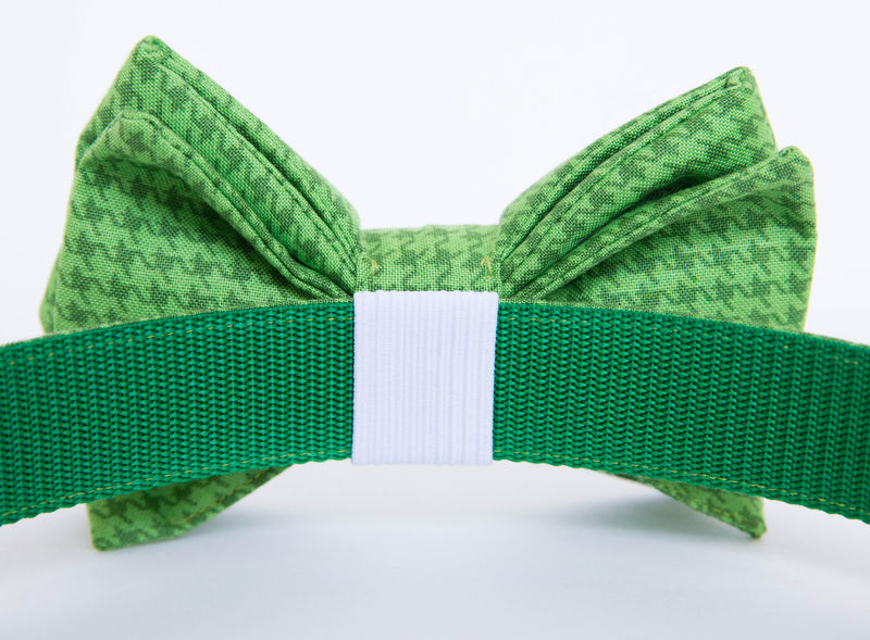 Dog Bow Tie Collar - Green Houndstooth - product images  of