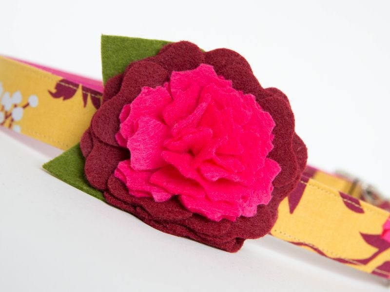 Flower Dog Collar -  Golden Fall Floral - product images  of