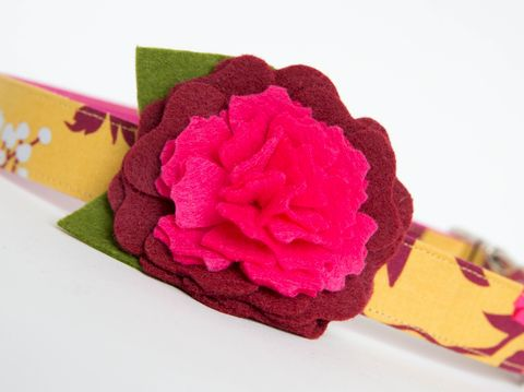 Flower,Dog,Collar,-,Golden,Fall,Floral,wedding dog collar, fancy dog collar, unique, dog collar, flower, flower dog collar, dog collar flower, flower for dog collar, felt flower, fall dog collar, gold, maroon