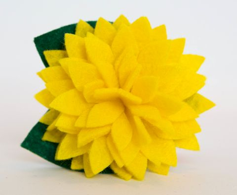 Dog,Collar,Flower,-,Yellow,Dahlia,dog collar flower, flower for dog collar, dog collar flowers, dog collar, flowers, flower, felt flower, wedding dog collar