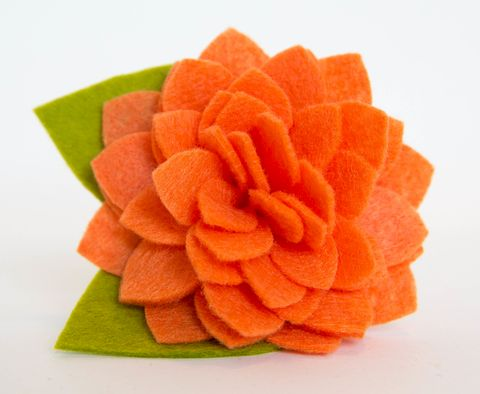 Flower,for,Dog,Collar,-,Orange,Dahlia,flower for dog collar, dog collar flower, felt flower, orange, dahlia, fancy dog collar, flower dog collar