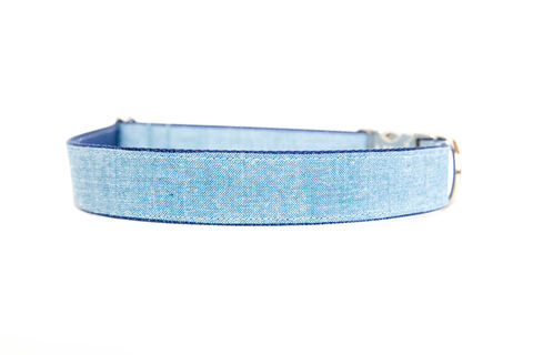 Light,Chambray,Dog,Collar,chambray dog collar, navy, blue, denim dog collar, dog collar, southern dog collar, blue dog collar, nickel hardware, silver hardware