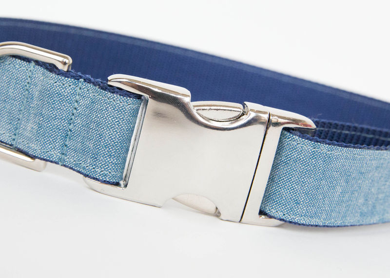 Light Chambray Bowtie Dog Collar - product images  of