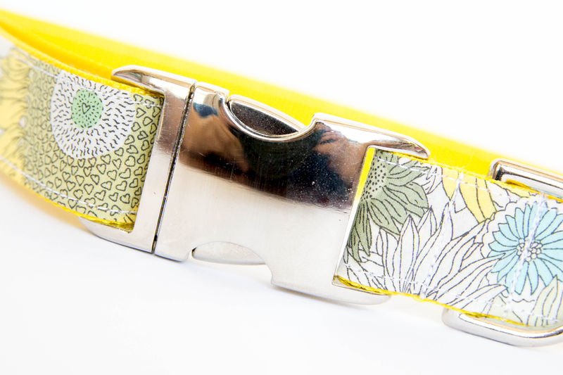 Liberty of London Dog Collar - Yellow & Mint Floral - product images  of