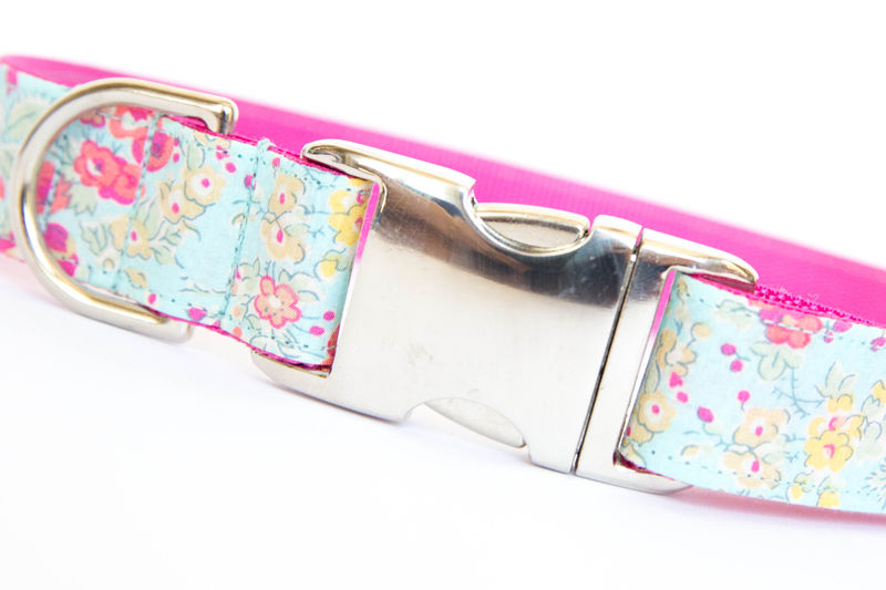 Liberty of London Dog Collar - Faded Turquoise Floral - product images  of