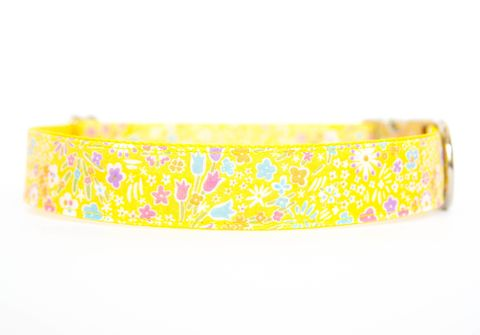 Liberty,of,London,Dog,Collar,-,Bright,Yellow,Flowers,liberty of london dog collar, dog collar, southern dog collar, floral dog collar, pink, red
