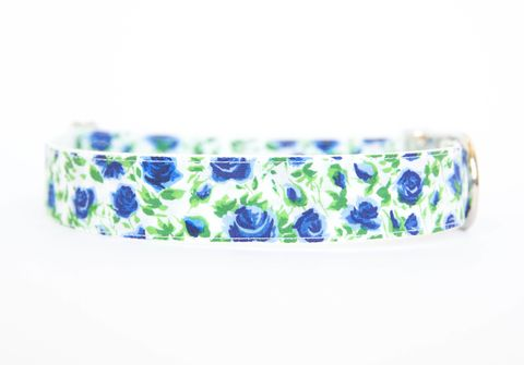 Liberty,of,London,Dog,Collar,-,Blue,Roses,liberty of london dog collar, dog collar, southern dog collar, floral dog collar, pink, red