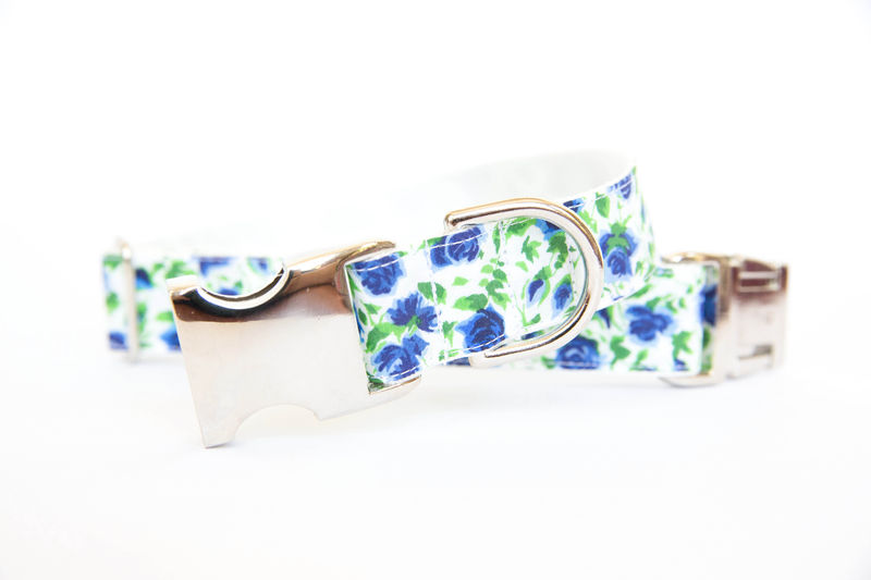 Liberty of London Dog Collar - Blue Roses - product images  of